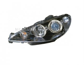 PEUGEOT P206 1998-2005 HEAD LAMP BLACK PROJECTOR  W/RIM + MOTOR