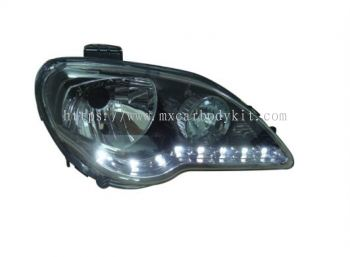 PROTON GEN 2/PERSONA 2005 & ABOVE HEAD LAMP CRYSTAL BLACK CHROME W/LED
