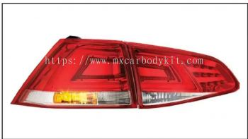 VOLKSWAGEN MK7 2013 & ABOVE REAR LAMP CRYSTAL LED + LIGHT BAR RED / CLEAR