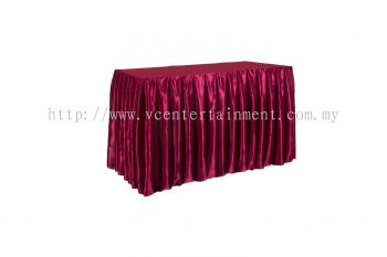 Maroon Normal Oblong Table Skirting 2x4