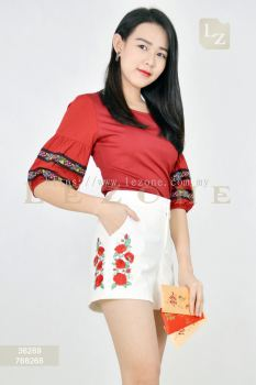 768268 SIDE EMBROIDERED SHORT PANTS��SCM VIP 10%��