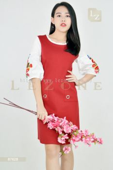 87628 PLUS SIZE SLEEVE EMBROIDERED DRESS��SCM VIP 10%��