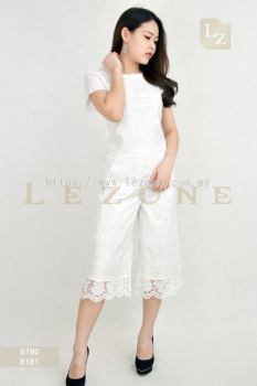 6180 + 6181 EMBROIDERED LACE BLOUSE WITH CULOTTES