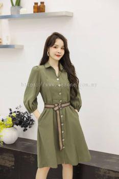 6860BD Front Button Collar Dress