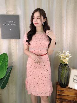 183431 Polkadot Side Pleated Dress