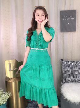 201105 Laced Tiered Midi Dress
