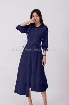 6881BD Asymmetrical Front Button Dress
