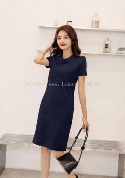 6865BD  High-Neck Sleeved Dress