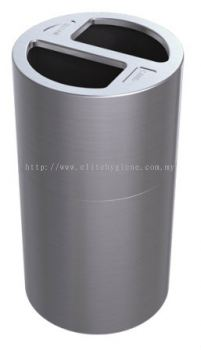 EH Aluminium Recycle Bin 2 Compartment c/w PP Inner Liner