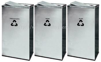 EH Stainless Steel Rectangular Flip Top Recycle Bins