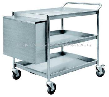 EH Stainless Steel 3 Tiers Trolley c/w Hanging Bin 1108