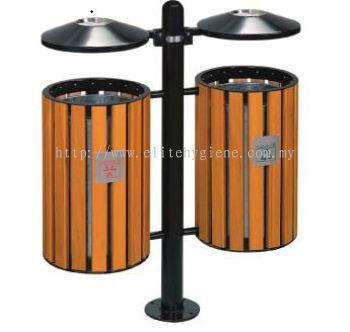 EH Powder Coating + Wood Out Door Recycle Bin c/w Galvanised Liner 184