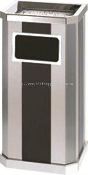 EH Stainless Steel + Print Coating Diamond Shape Waste Bin c/w Ashtray