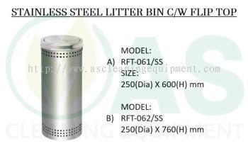 STAINLESS STEEL LITTER BIN C/W FLIP TOP