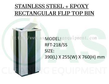 STAINLESS STEEL + EPOXY RECTANGULAR FLIP TOP BIN