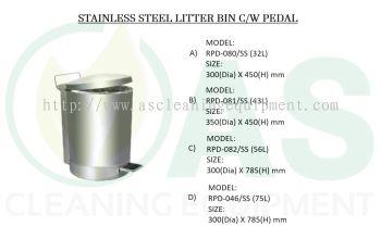 STAINLESS STEEL LITTER BIN C/W PEDAL