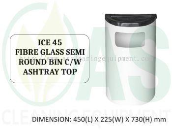 ICE 45 FIBRE GLASS SEMI ROUND BIN C/W ASHTRAY TOP