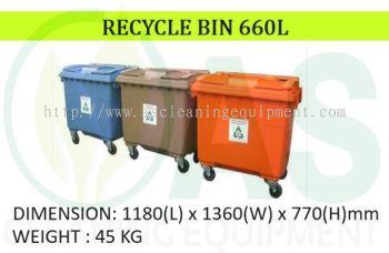 MOBILE RECYLCE BIN (4 WHEELS) - 660L