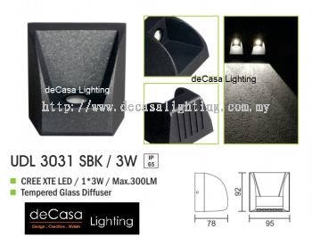 OUTDOOR WALL LIGHT UDL 3031 SBK 3W