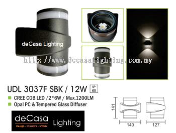 OUTDOOR WALL LIGHT UDL 3037F SBK 12W