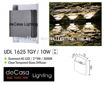 OUTDOOR WALL LIGHT UDL 1625 TGY 10W