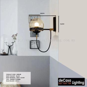 MODERN GLASS DESIGNER WALL LIGHT BLACK (0409-BK)