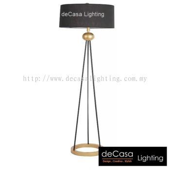 DESIGNER FLOOR LAMP BLACK WITH GOLD HOLDER