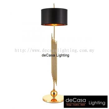 DESIGNER FLOOR LAMP BLACK WITH GOLD HOLDER