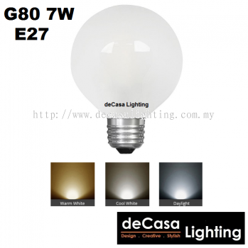 E27 G80 7W LED Frosted Globe Bulb