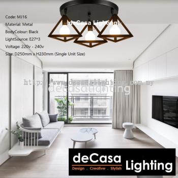 Set Of 3 With Round Base Modern Designer Decorative Triangle Ceiling Light (MJ16-BK-3CB)