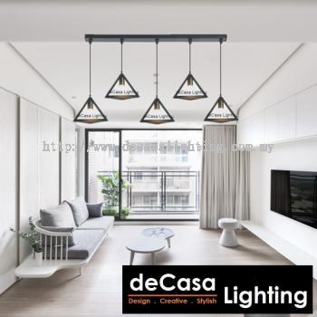 Set Of 5 With 1M Long Base Designer Decorative Triangle Pendant Light