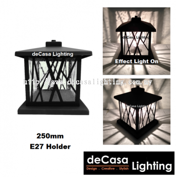 Black Pillar Light Weather Proof Outdoor 25cm Gate Light