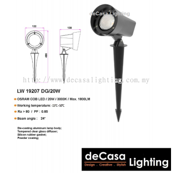 OUTDOOR LED SPIKE LIGHT LW-19207-DG-20W