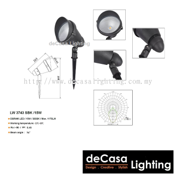 OUTDOOR LED SPIKE LIGHT LW-3743-SBK-15W