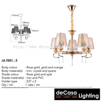 Contemporary Chandelier Pendant Light (JA9881-5)