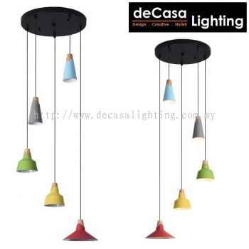 Pendant Light (ZF6553-5-BK/CL)