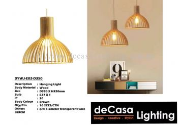 Wooden Pendant Ceiling Light (DYWJ-E02-D350)