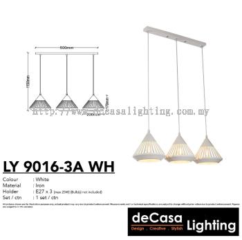 PENDANT LIGHT (LY9016-3LB-WH)