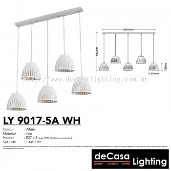 PENDANT LIGHT (LY9017-5LB-WH)