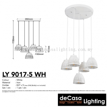 PENDANT LIGHT (LY9017-5RB-WH)