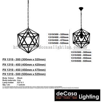 PENDANT LIGHT (PX1319-BK) (4 SIZES AVAILABLE-D300/D400/D450/D500)