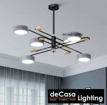 MODERN 3C SWITCHABLE LED CEILING LIGHT METAL + WOOD GREY 6/8 LIGHTS