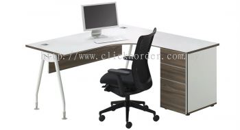 Executive L-Shape Table c/w 2D1F Fixed Pedestal