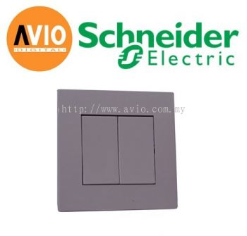 Schneider SCHKB32BP-AS Vivace 2 Gang Press Switch (Aluminium Silver)