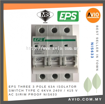 EPS NIS633 3 Pole 63A Isolator Switch