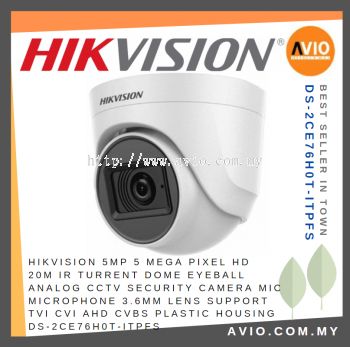 Hikvision DS-2CE76H0T-ITPFS 5MP 20m Dome CCTV Camera