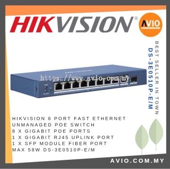 Hikvision DS-3E0510P-E/M 8 POE + 1 Uplink POE Switch