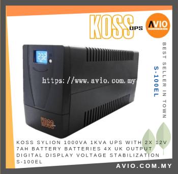 KOSS S-125EL 1000VA 1KVA UPS with 2 x 12V 7Ah battery 4 x UK Socket