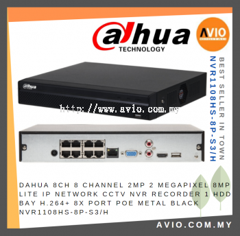 Dahua NVR1108HS-8P-S3/H 8 Channel Compact 1U Lite 4K H.265 NVR with on-board PoE