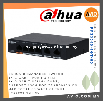 DAHUA AVIO PFS3006-4GT-60 4 POE + 2 GE Unmanaged Switch